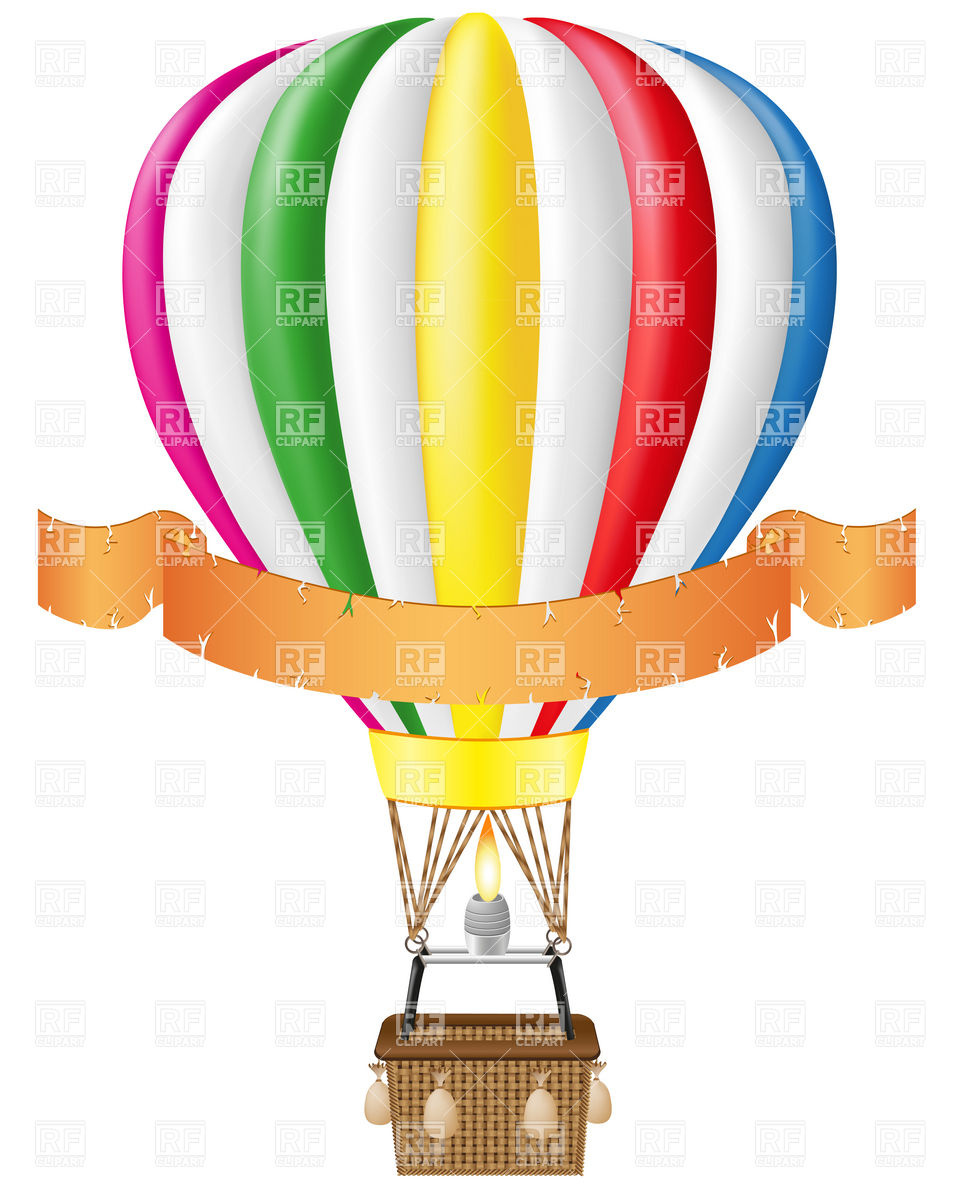 960x1200 Hot Air Balloon And Blank Ribbon Royalty Free Vector Clip Art