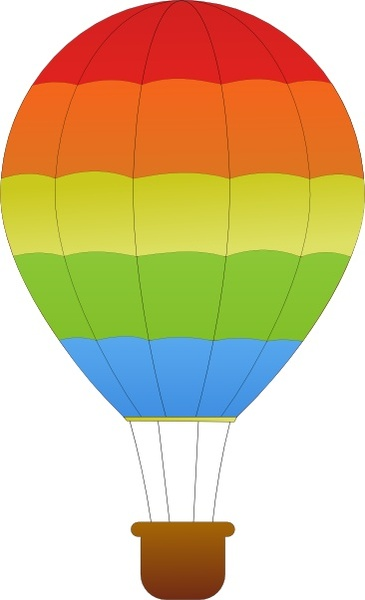 365x600 Maidis Horizontal Striped Hot Air Balloons Clip Art Free Vector