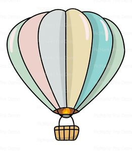 261x300 Pastel Hot Air Balloon ~ Frosting Sheet Cake Topper ~ Edible