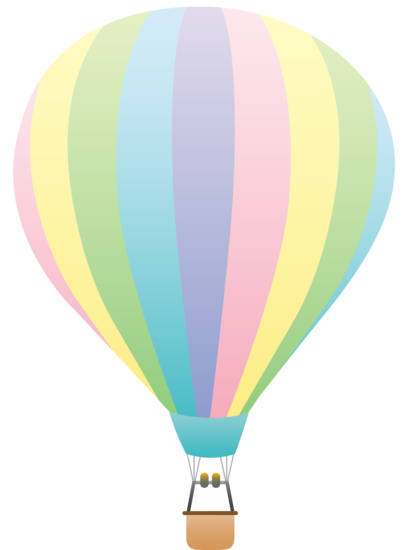 407x550 Striped Pastel Colored Hot Air Balloon