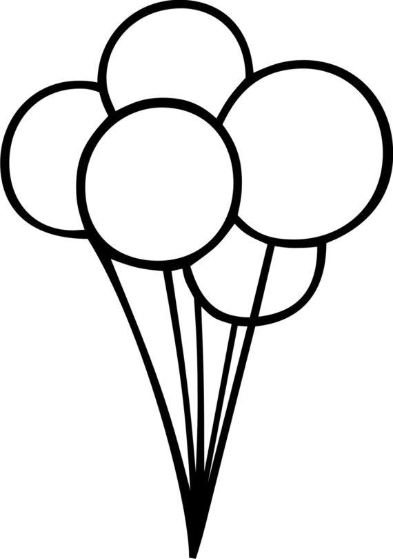 570x810 Balloon Clipart Black And White