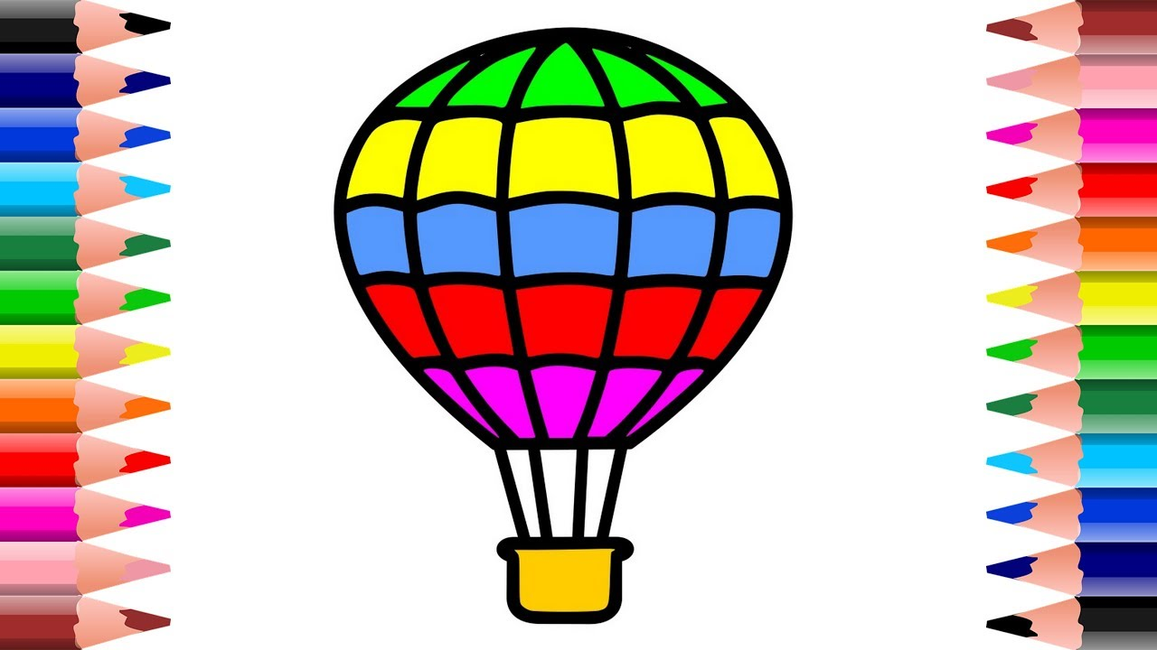 1280x720 How To Draw Hot Air Balloon Kids Learn Drawing Art Colors