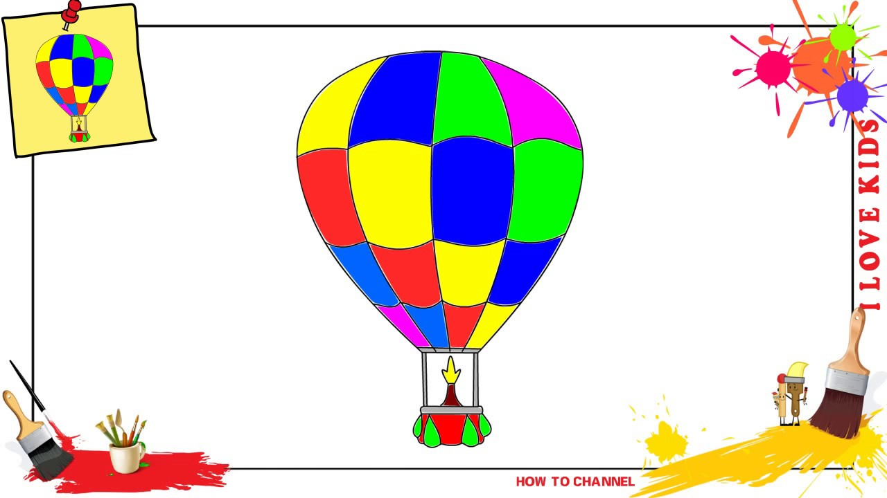 1280x720 How To Draw A Hot Air Balloon Easy Amp Slowly Step By Step For Kids