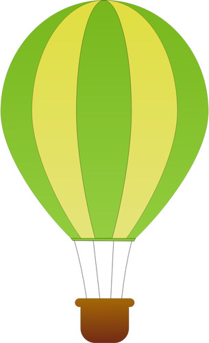 305x500 Vertical Green And Yellow Stripes Hot Air Balloon Vector Drawing
