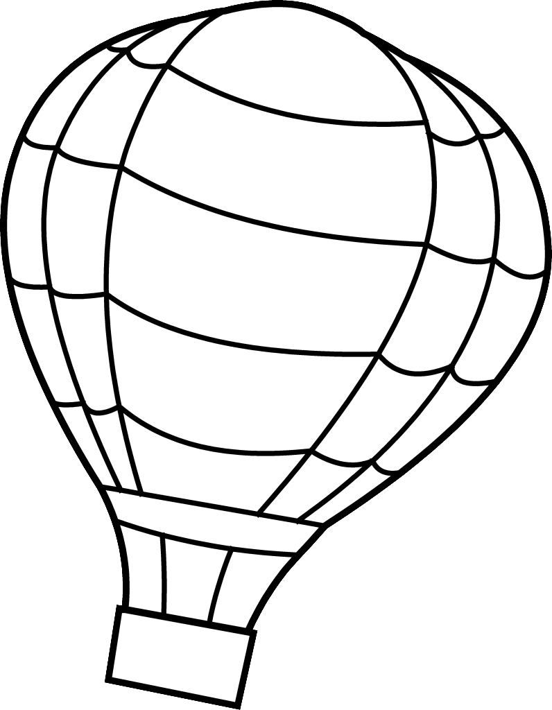 796x1024 Hot Air Balloon Clipart Coloring Page