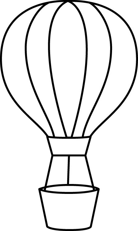 446x747 Black Amp White Clipart Hot Air Balloon