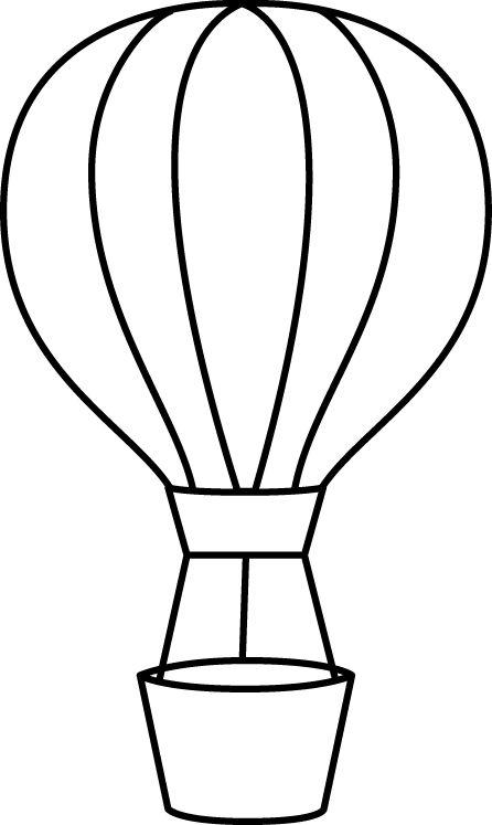 446x747 Black Amp White Clipart Hot Air Balloon