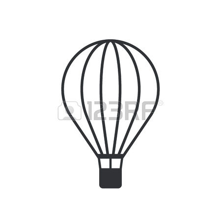 450x450 Hot Air Balloon Line Icon, Modern Minimal Flat Design Style