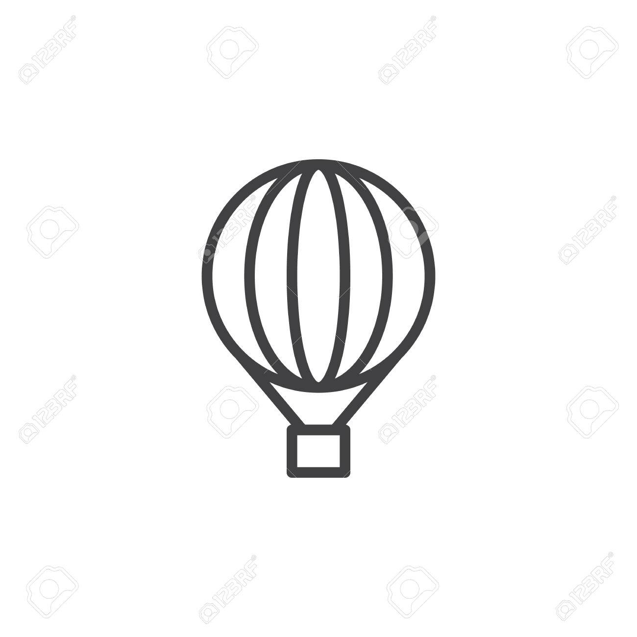 1300x1300 Hot Air Balloon Line Icon, Outline Vector Sign, Linear Style