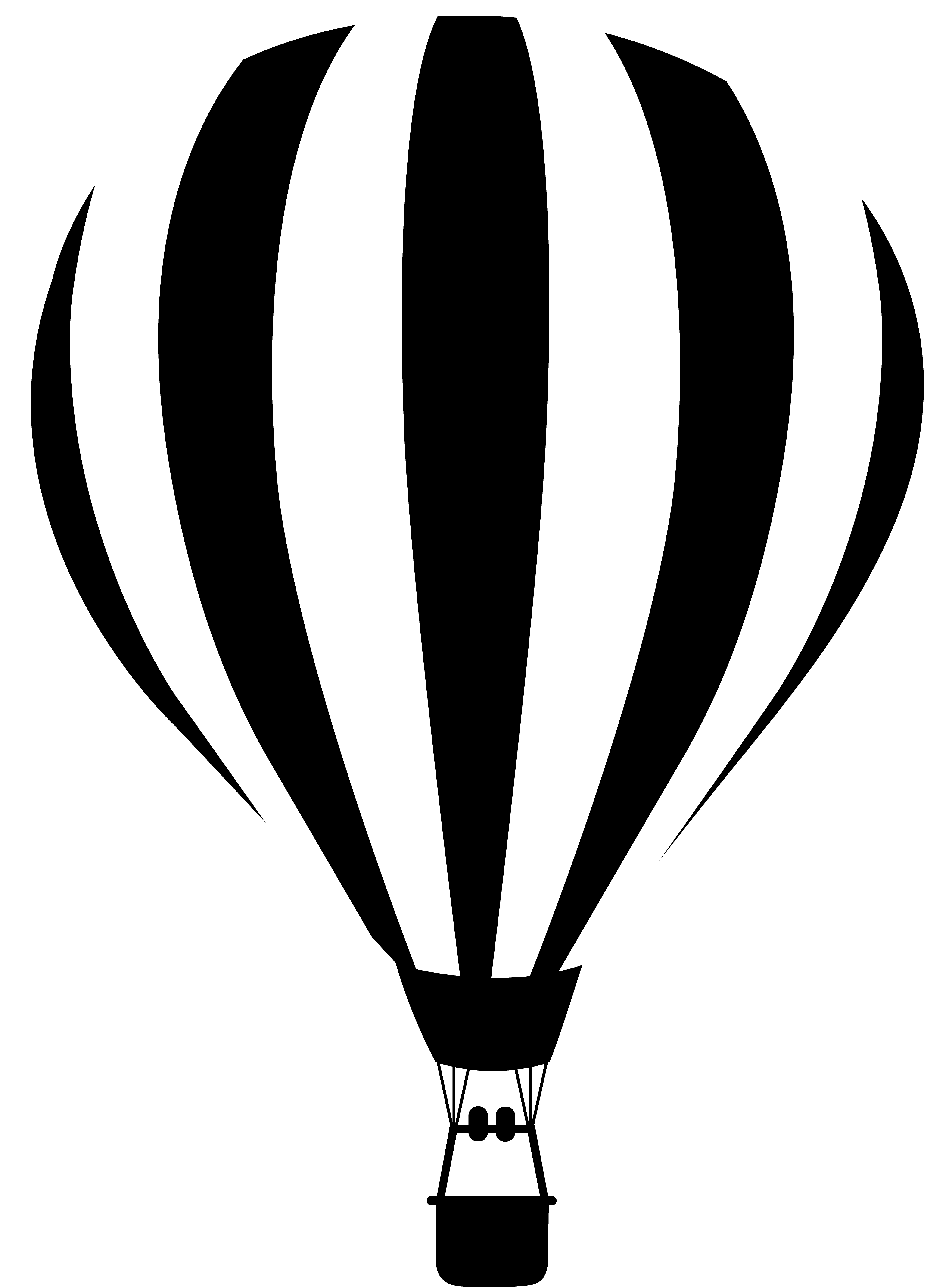 4114x5559 Black And White Hot Air Balloon Silhouette Png Clipart