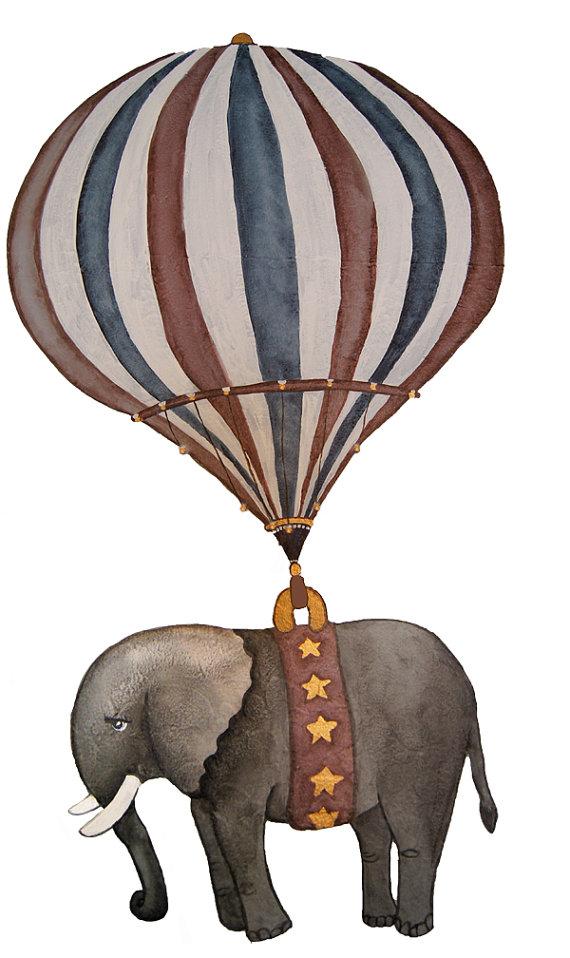 570x958 Ex Large Vintage Hot Air Balloon Animal Nursery By Judsonlane
