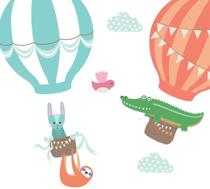 720x648 Hot Air Balloons And Animal Wall Decals