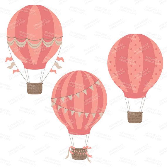 570x569 Pink Hot Air Balloon Clipart