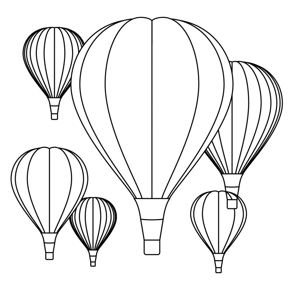 940x940 Vintage Hot Air Balloon Coloring Page