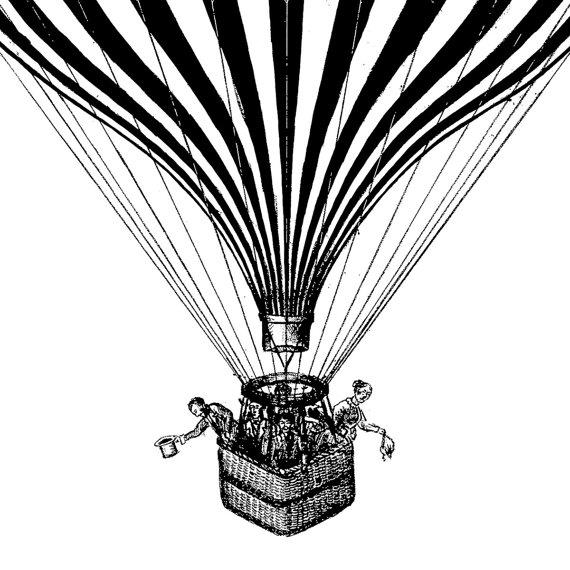 570x570 Vintage Hot Air Balloon Illustration Printable, Vintage Hot Air