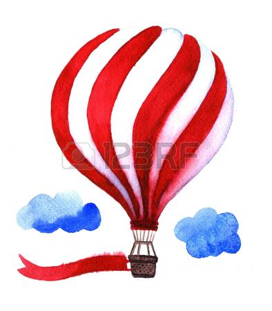 394x450 Watercolor Hot Air Balloon. Hand Drawn Vintage Air Balloons
