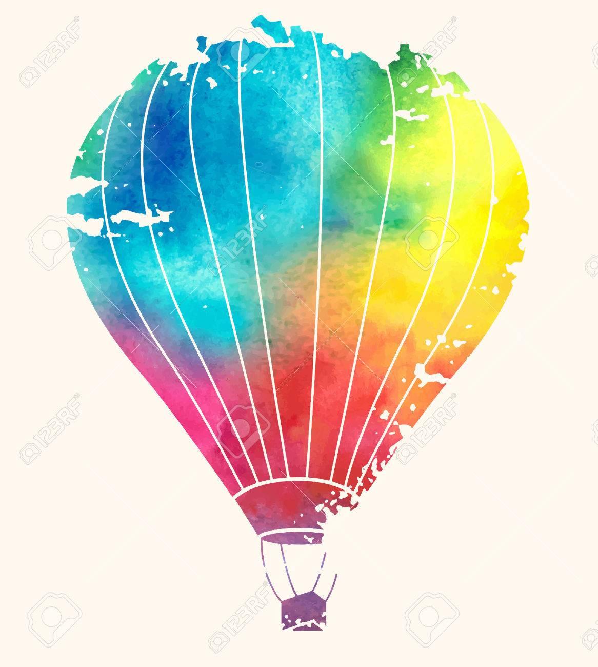 1166x1300 Watercolor Vintage Hot Air Balloon Royalty Free Cliparts, Vectors