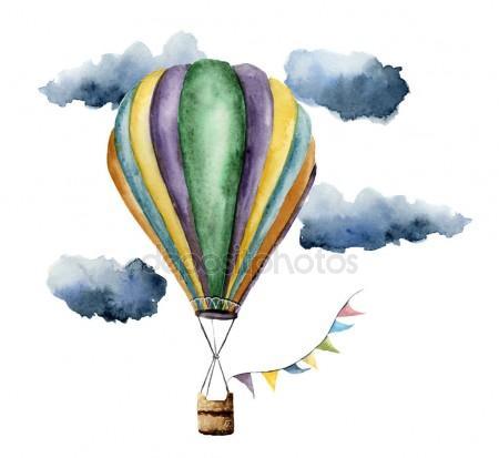 450x413 Watercolor Hot Air Balloon Set. Hand Painted Vintage Air Balloons