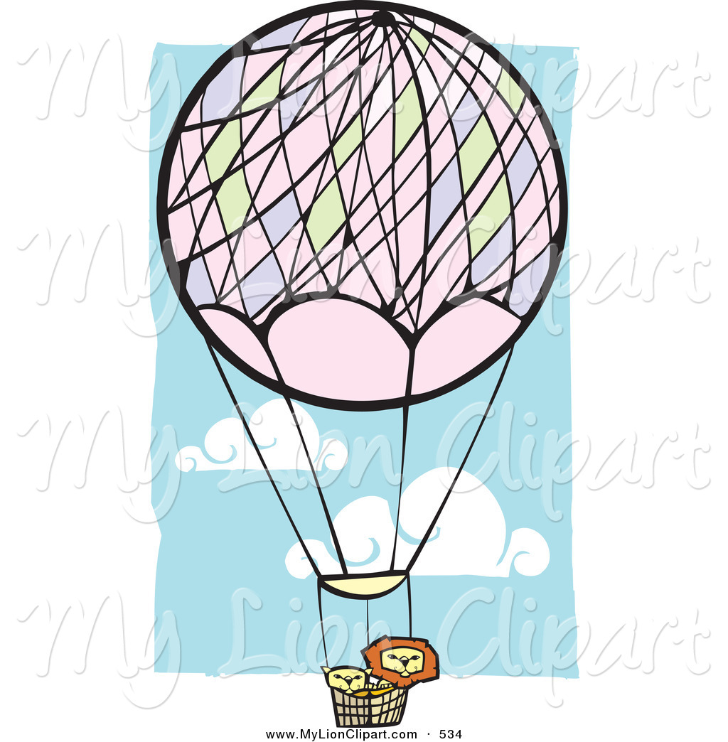 1024x1044 Clipart Of A Couple Of Lions In A Hot Air Balloon In A Blue Cloudy