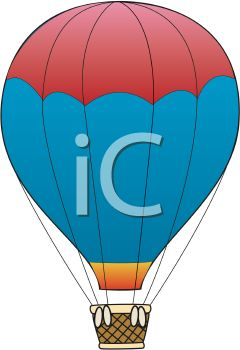 240x350 Clip Art Cartoon Of A Red And Blue Hot Air Balloon