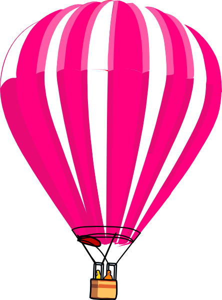 444x599 Pink And White Hot Air Balloon Clip Art
