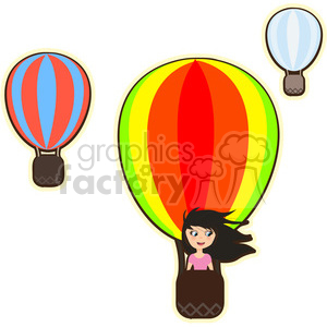 300x300 Royalty Free Hot Air Balloon Girl Cartoon Character Vector Image