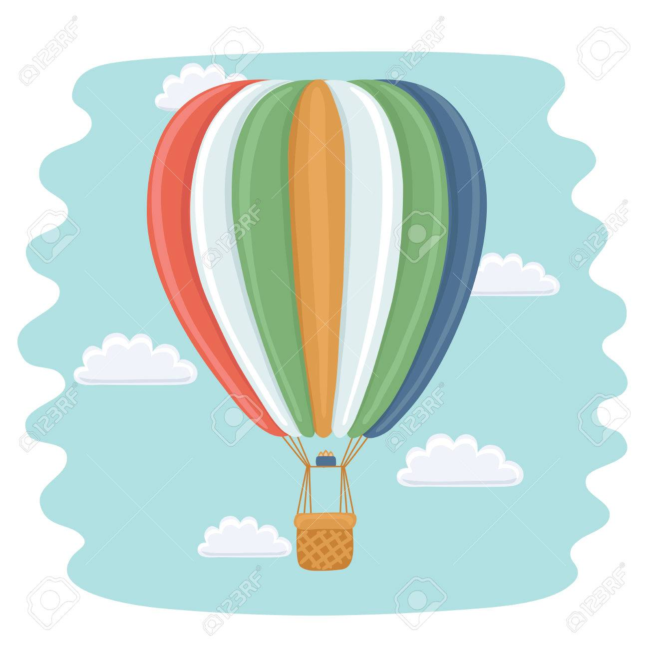 1300x1300 Vector Funny Cartoon Illustration Of Hot Air Balloon And Clouds