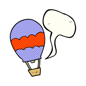 300x300 Freehand Drawn Speech Bubble Cartoon Hot Air Balloon Royalty Free