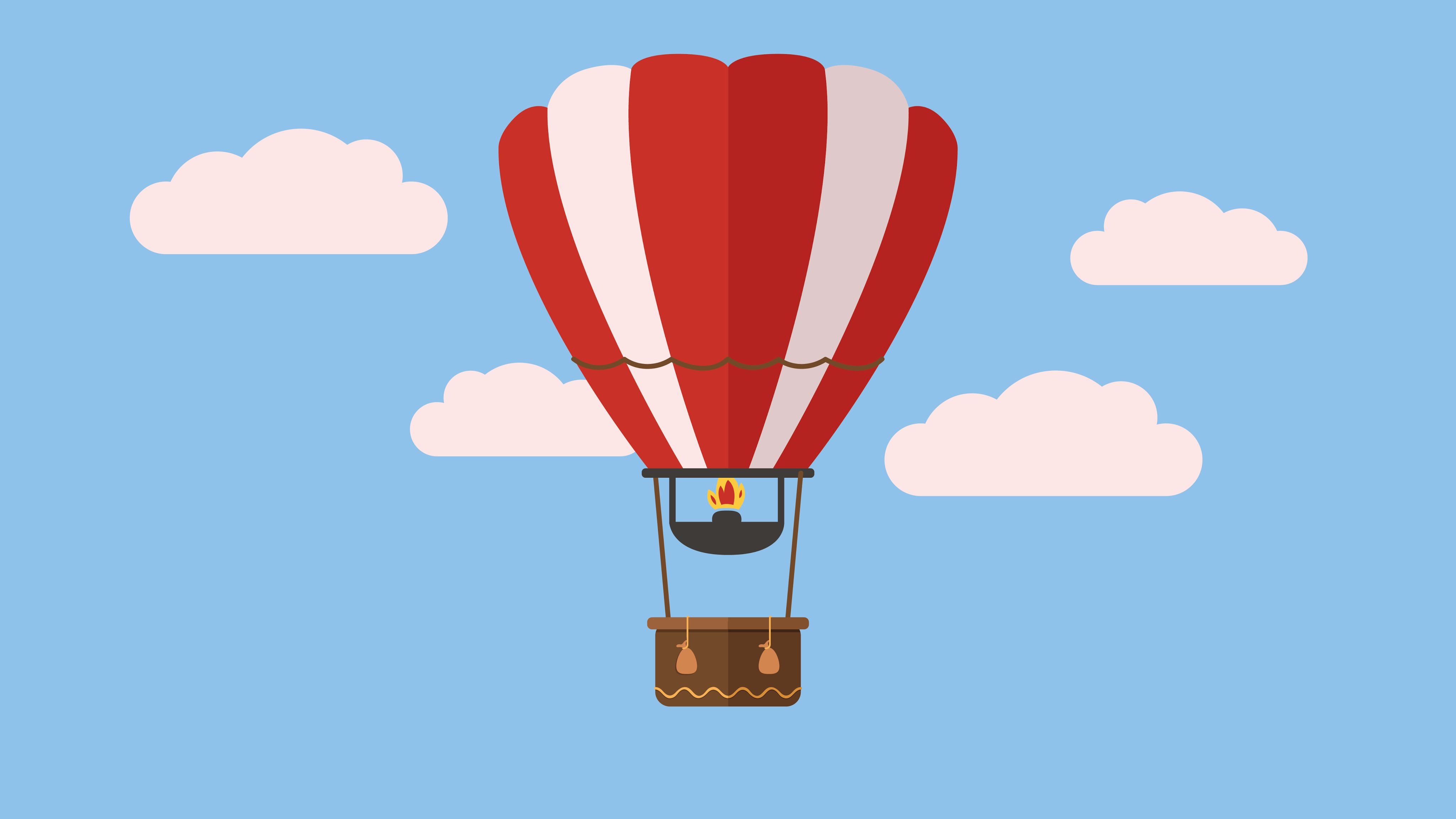 4096x2304 Hot Air Balloon Raav Flat Design