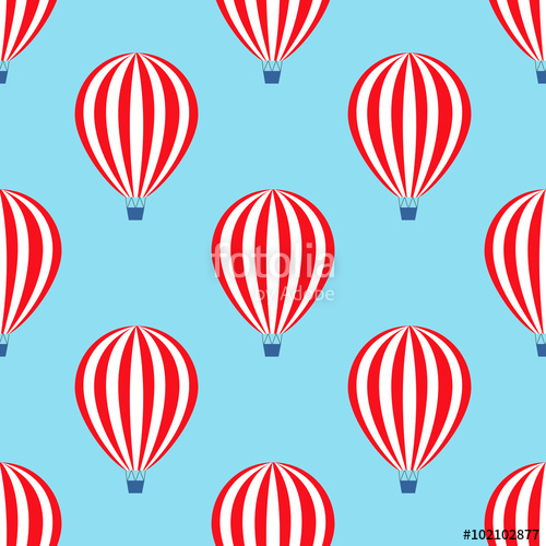 500x500 Hot air balloon seamless pattern. Baby shower vector illustration