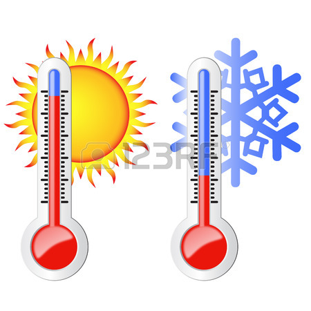 450x450 Two Thermometers, High And Low Temperature Symbolize The Heat
