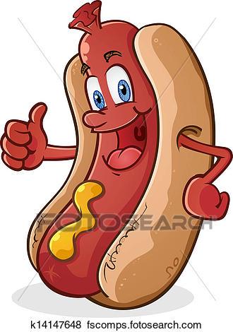 330x470 Clip Art Of Hot Dog Thumbs Up Cartoon Character K14147648