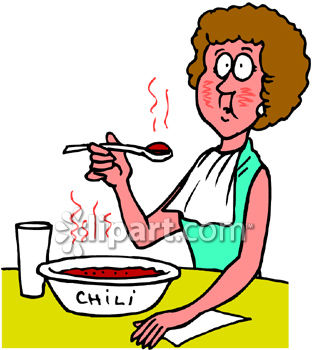 312x350 Woman Eating Hot And Spicy Chili Clipart