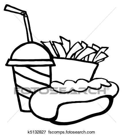428x470 Clip Art Of Hot Dog Drink And French Fries K5132827