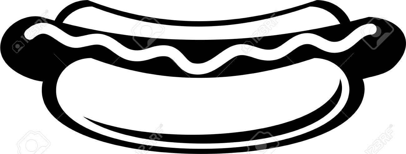 1300x495 Hot Dog Clipart Black And White
