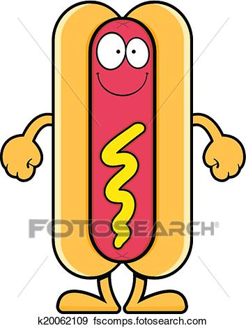 353x470 Clip Art Of Smiling Cartoon Hot Dog K20062109