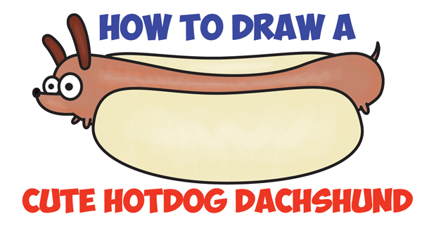 600x325 How To Draw A Cute Kawaii Cartoon Hotdog Dog (Dachshund) Easy Step