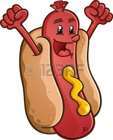 366x450 Hot Dog Hot Dog Cartoon Character With Emblem And Illustrated