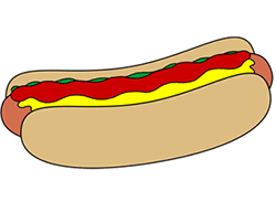 250x192 Cartoon Hot Dog Step By Step Drawing Lesson