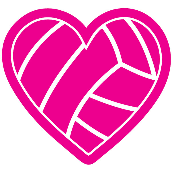 600x600 Hot Pink Volleyball Volleyball Gifts Decals Pink Heart Volleyball
