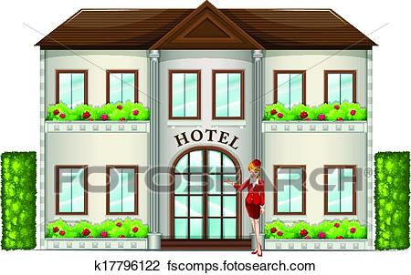 450x302 Clipart Of A Hotel Attendant Standing In Front Of The Hotel