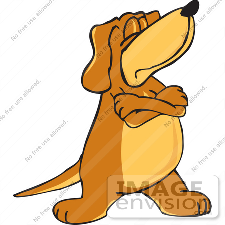 450x450 Clip Art Graphic Of A Stubborn Brown Hound Dog Cartoon Character