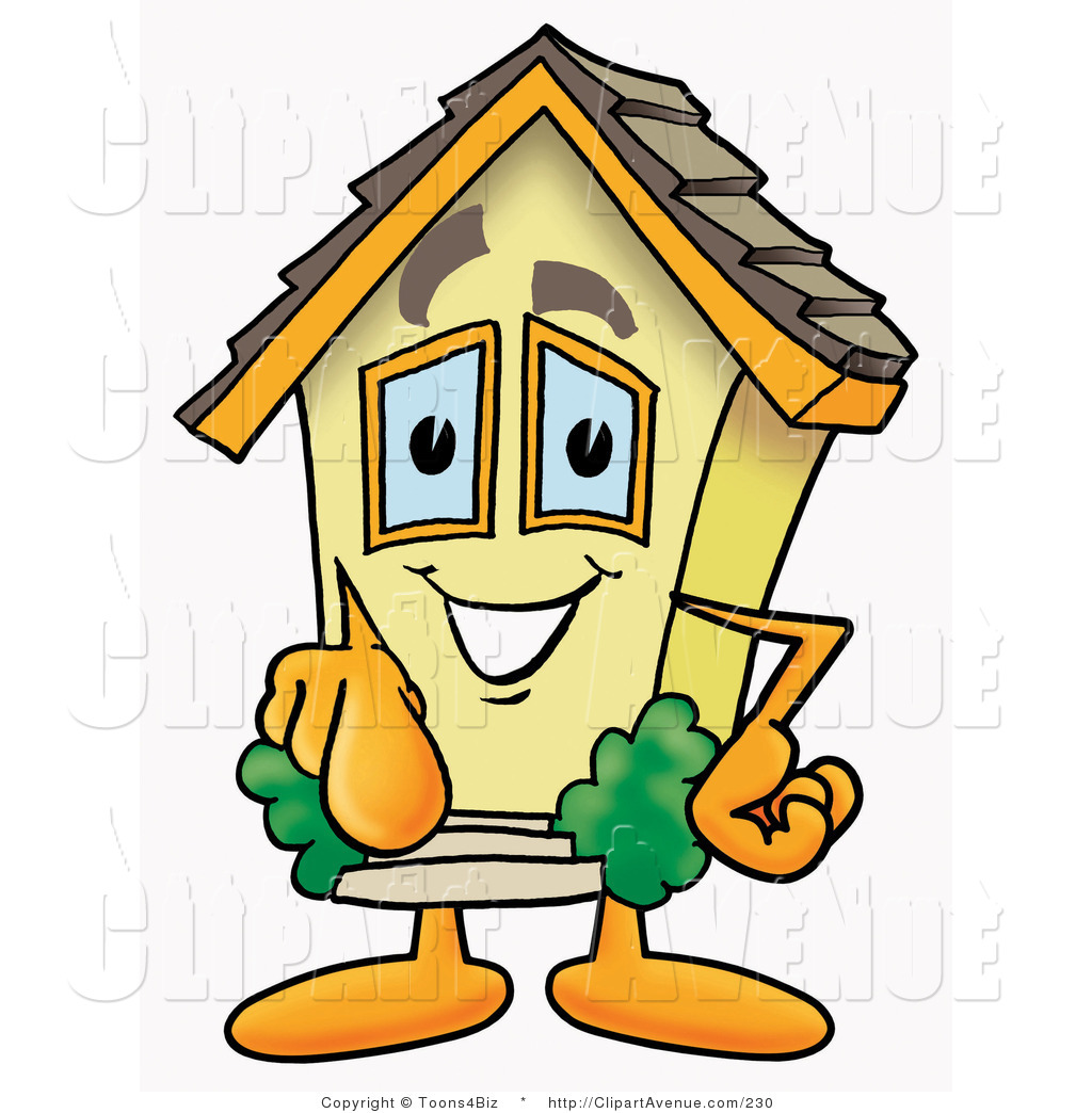 1024x1044 Avenue Clipart Of A Yellow House Mascot Cartoon Character Pointing