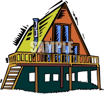350x319 Royalty Free Clip Art Image A Frame Style House On Stilts