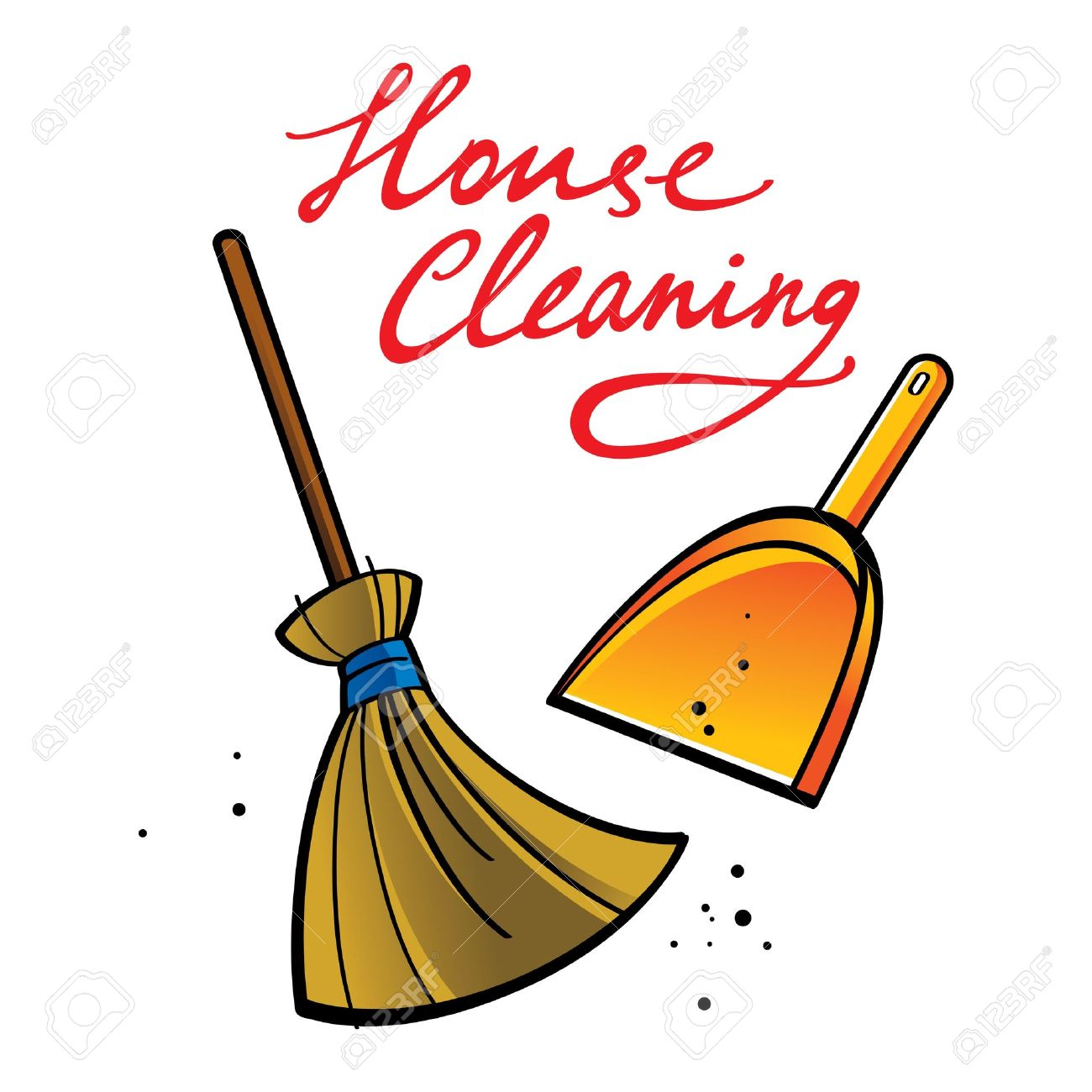 1300x1300 House Cleaning Broom Brush Dust Dirt Service Shovel Royalty Free