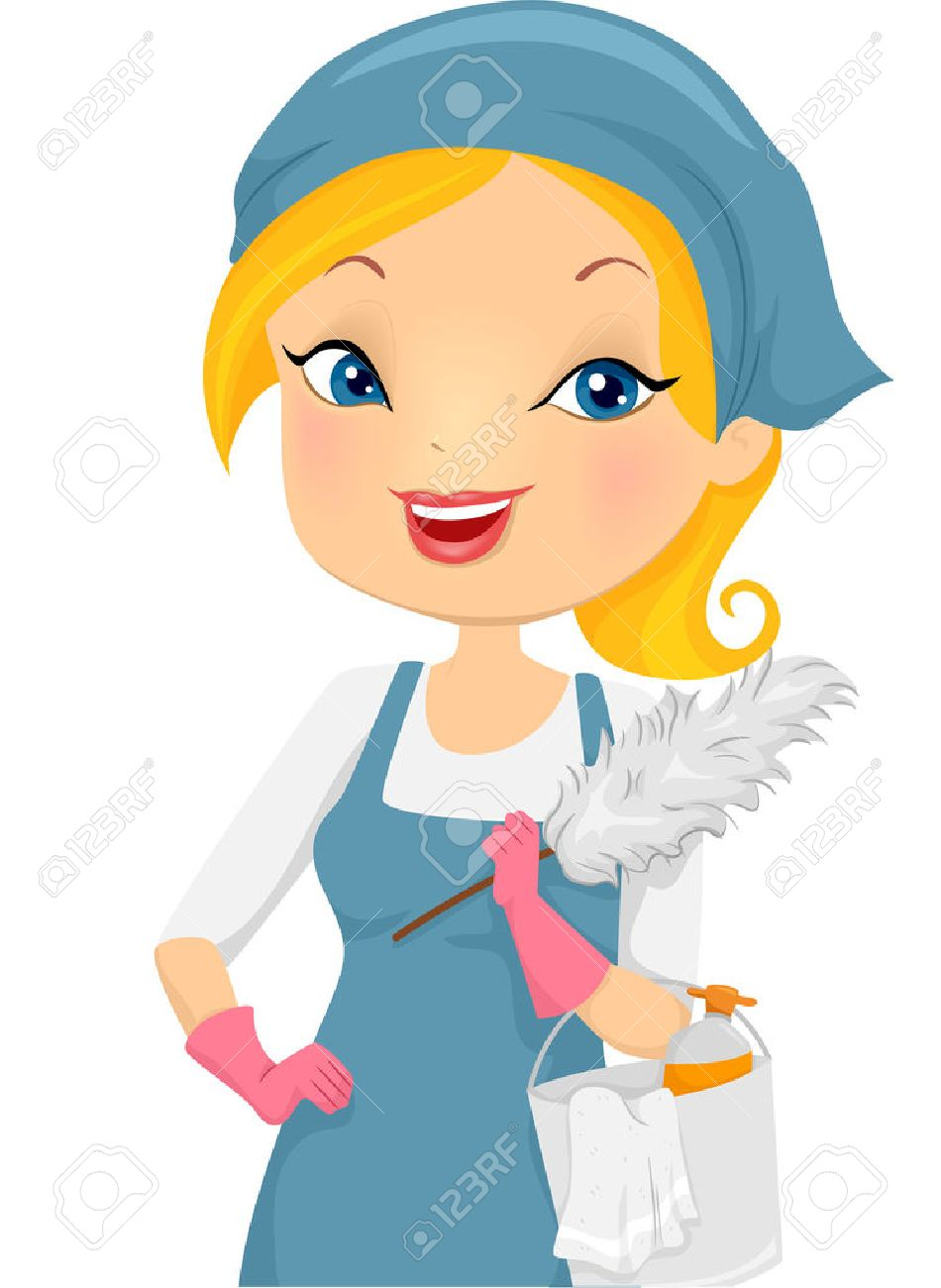 950x1300 Illustration Of A Girl Providing Housecleaning Service Royalty