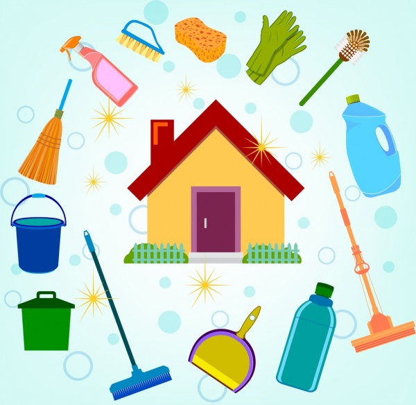 600x584 Cleaning Service Design Elements House Icons Various Symbols Free