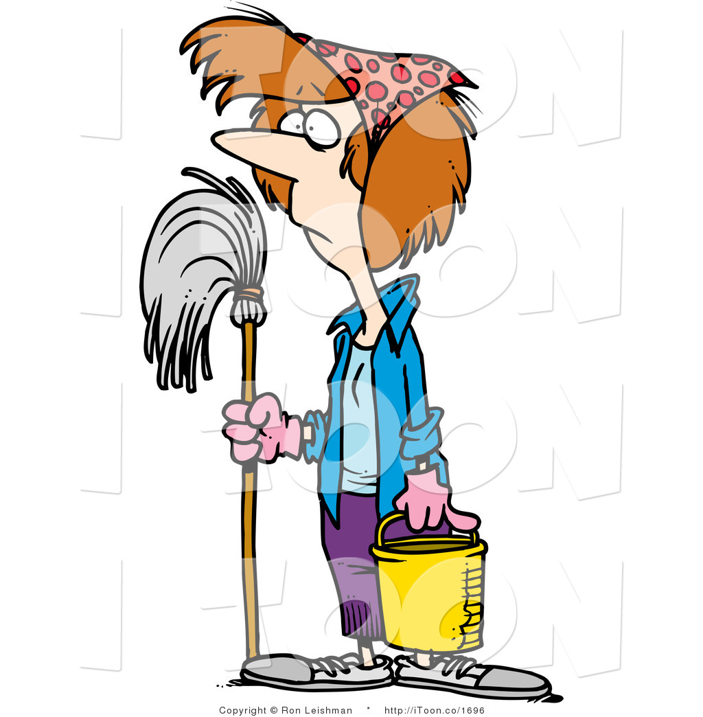1024x1044 Cartoon Lady Spring Cleaning By Toonaday