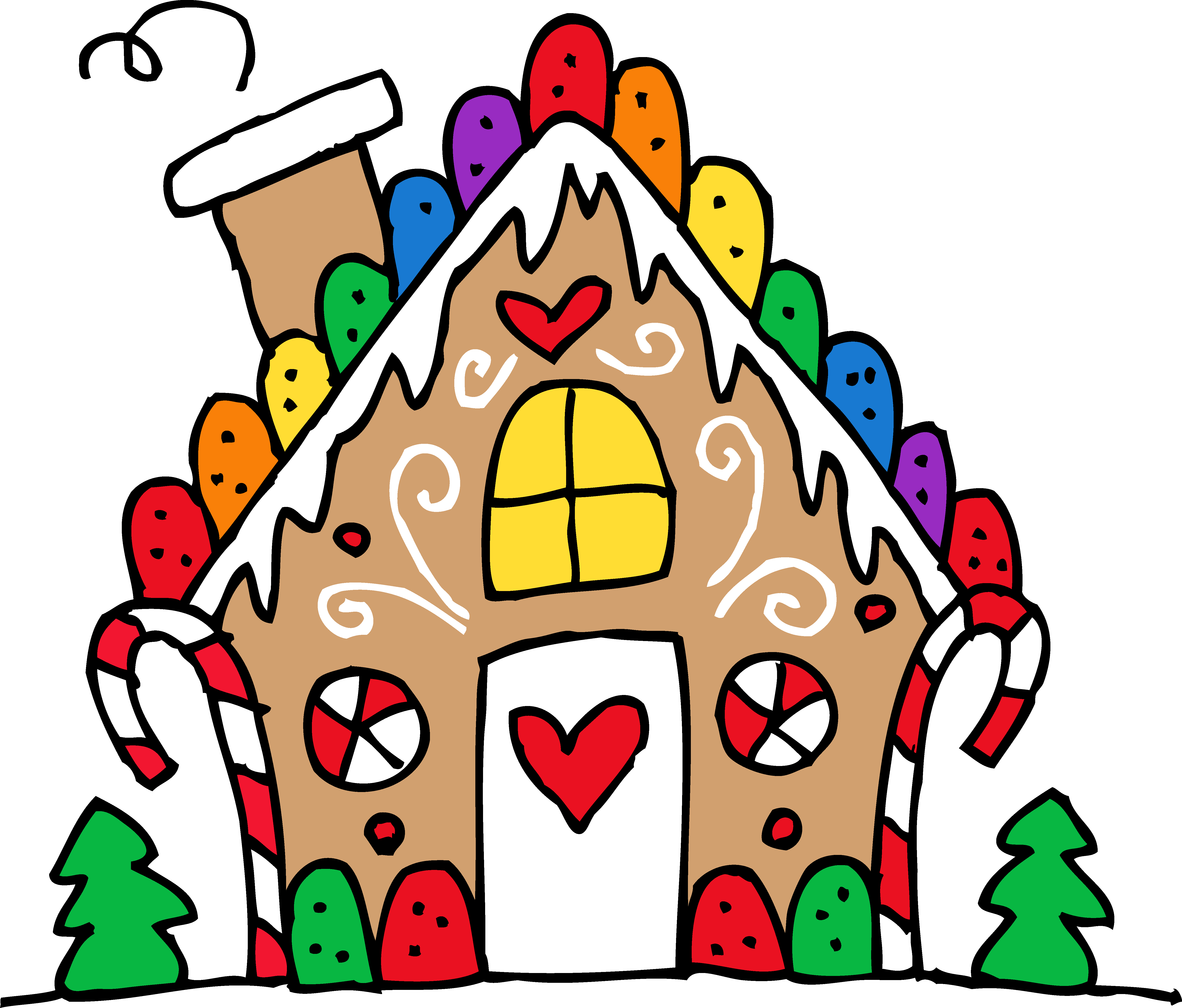 5677x4840 Cute Gingerbread House Clipart