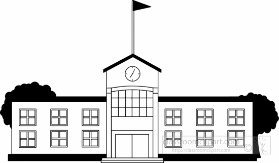550x322 Clipart Black And White School Building
